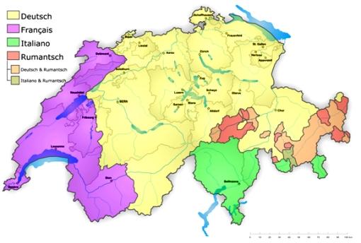 Mapa de idiomas de Suiza